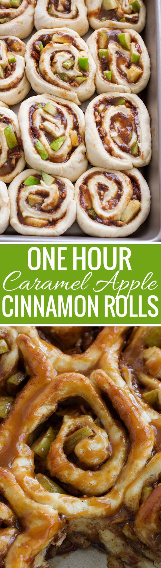 One Hour Caramel Apple Cinnamon Rolls Recipe | Little Spice Jar - The BEST Cinnamon Rolls Recipes - Perfect Treats for Breakfast, Brunch, Desserts, Christmas Morning, Special Occasions and Holidays #cinnamonrolls #cinnamon #cinnamontreats #cinnamonrollsrecipes #cinnamondesserts #breakfastrolls #sweetrolls