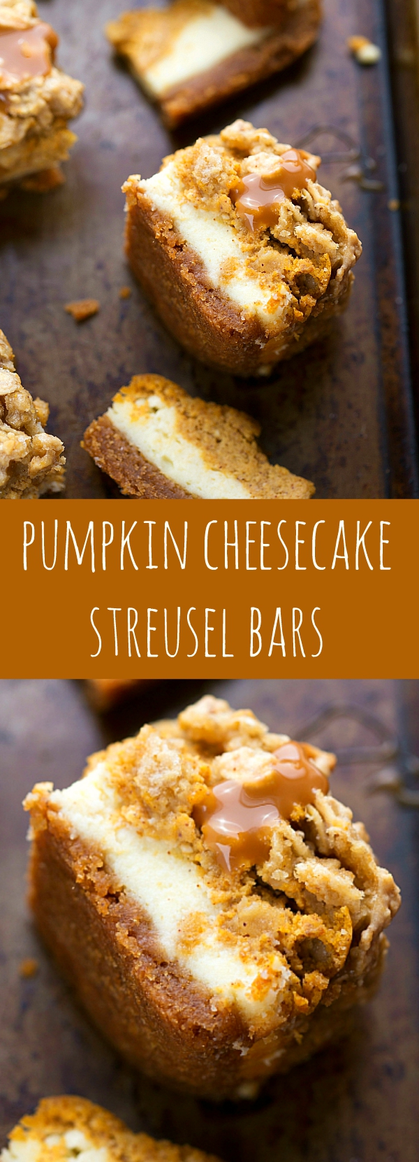 With two layers of cheesecake on a delicious cinnamon graham cracker crust topped with an easy streusel....you'll want to keep this recipe handy! Pumpkin Caramel Cheesecake Bars with Streusel Topping - Fall and Winter Dessert Recipe | Chelsea's Messy Apron #falldesserts #winterdesserts #christmasdesserts #thanksgivingdesserts #partydesserts #holidaydesserts #cinnamondesserts #carameldesserts #pumpkindesserts