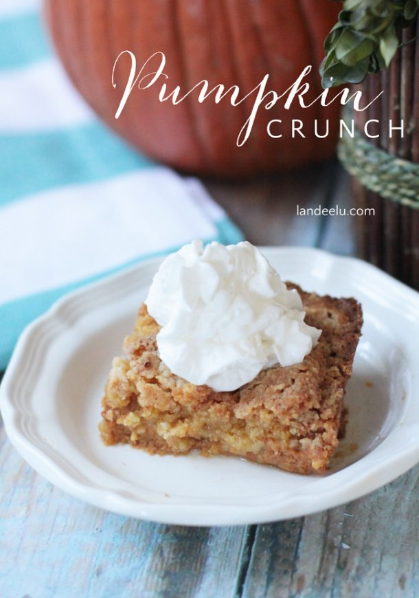With just 7 ingredients any well stocked pantry and fridge will most likely already have what you need to whip this up! Pumpkin Crunch Recipe | Landeelu #falldesserts #winterdesserts #christmasdesserts #thanksgivingdesserts #partydesserts #holidaydesserts #cinnamondesserts #pumpkindesserts