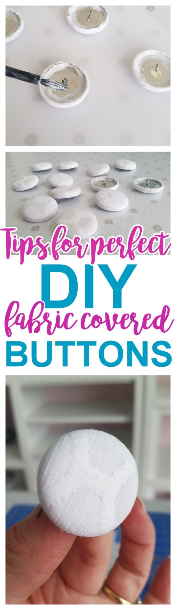 DIY Upholstery Fabric Covered Buttons - Tips, Tricks and Hacks to make them EASY and STURDY - Do it Yourself Step by Step Tutorial via Dreaming in DIY #upholsteredbuttons #howtomakefabriccoveredbuttons #fabriccoveredbuttons #buttoncoverkit #buttoncoverkithack #fabricbuttonstutorial #buttonhack #upholstery #easyupholstery