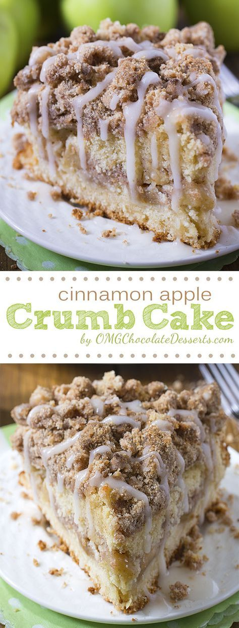 The perfect dessert for crisp fall and winter weather coming up! Cinnamon Apple Crumb Cake Recipe | OMG Chocolate Desserts #falldesserts #winterdesserts #christmasdesserts #thanksgivingdesserts #partydesserts #holidaydesserts #cinnamondesserts #appledesserts
