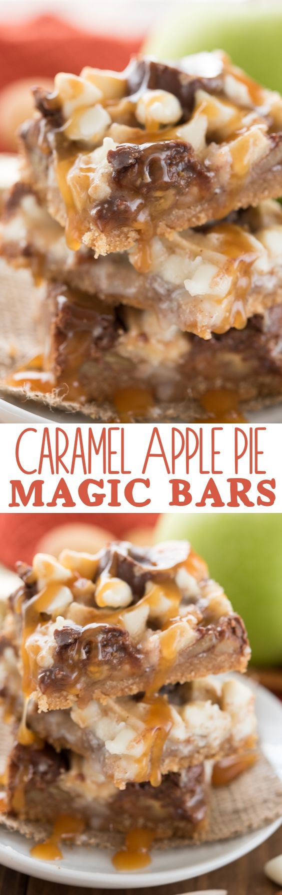 These are so easy to make and they're even better than apple pie! Nilla wafers, Rolos, apples - delicious! Caramel Apple Pie Magic Bars Recipe | Crazy for Crust #falldesserts #winterdesserts #christmasdesserts #thanksgivingdesserts #partydesserts #holidaydesserts #cinnamondesserts #carameldesserts #appledesserts