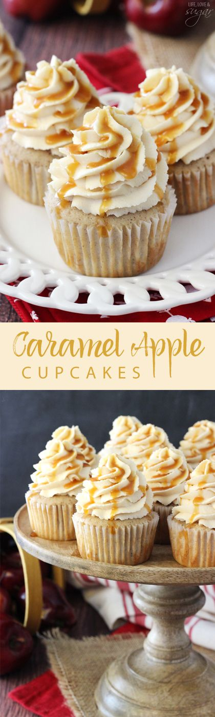 These beautiful cupcakes will be perfect for a Halloween party or the Thanksgiving dessert table! Caramel Apple Cupcakes Recipe | Life Love and Sugar #falldesserts #winterdesserts #christmasdesserts #thanksgivingdesserts #partydesserts #holidaydesserts #cinnamondesserts #carameldesserts #appledesserts