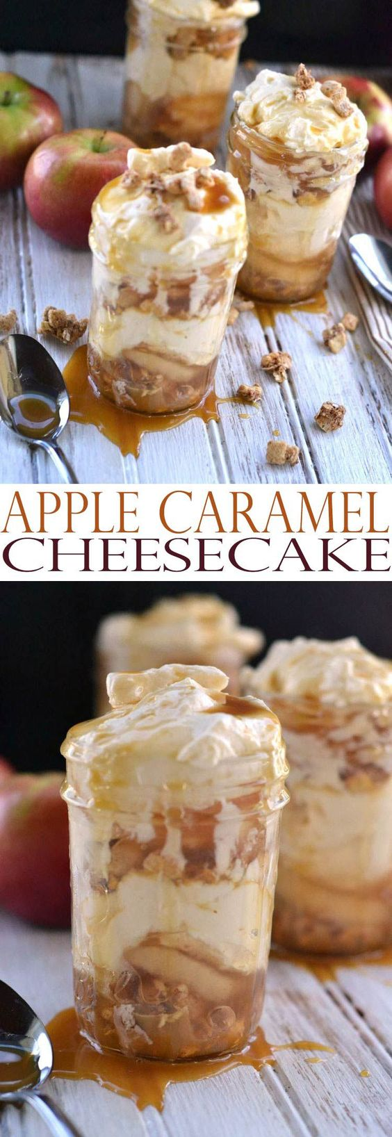 These would be perfect to serve at your Halloween Party or gorgeous on your Thanksgiving table! Apple Caramel Cheesecake Recipe – Mason Jar Desserts | All She Cooks #falldesserts #winterdesserts #christmasdesserts #thanksgivingdesserts #partydesserts #holidaydesserts #carameldesserts #appledesserts