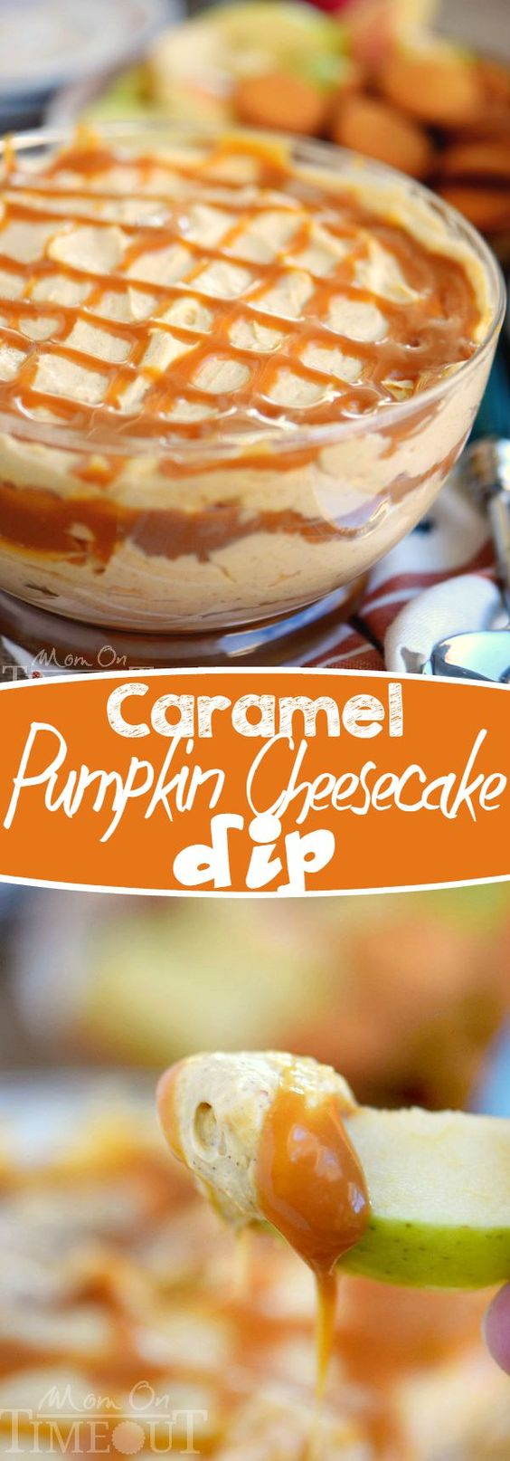 This easy to make, over the top all dessert table treat will have everyone coming back for seconds! Caramel Pumpkin Cheesecake Dip Recipe | Mom On Timeout #falldesserts #winterdesserts #christmasdesserts #thanksgivingdesserts #partydesserts #holidaydesserts #cinnamondesserts #carameldesserts #pumpkindesserts #appledesserts