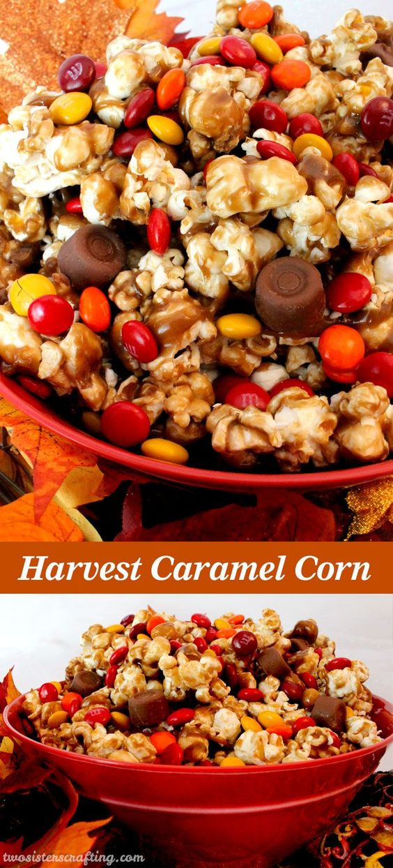 What a great Fall treat or Thanksgiving dessert. Salty popcorn, creamy caramel and sweet chocolate - sounds delicious! Harvest Caramel Corn Fall Treat Recipe | Two Sisters Crafting #falldesserts #winterdesserts #christmasdesserts #thanksgivingdesserts #partydesserts #holidaydesserts #cinnamondesserts #carameldesserts