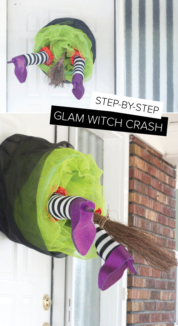 Glam Witch Crash Wreath Halloween Decoration Tutorial via The Alison Show - Spooktacular Halloween DIYs, Crafts and Projects - The BEST Do it Yourself Halloween Decorations