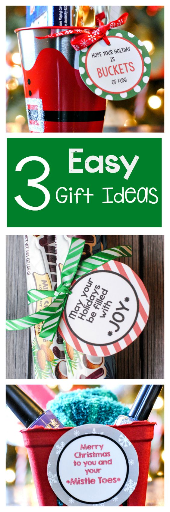 3 Easy Gift Ideas with Free Printable Gift Tags! Grab a bucket, some Almond Joy candies or some Nail Polish and pedicure supplies and attach her cute FREE Printable Gift tags with these cute ideas! | Crazy Little Projects #christmasprintables #freechristmasprintables #christmascards #christmasgifttags #printablechristmascards #printablechristmasgifttags #christmaspapercrafts