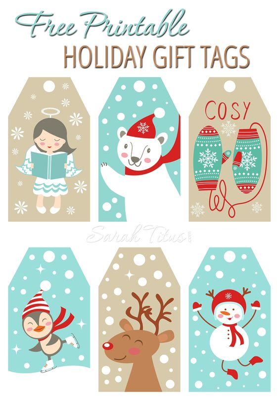 Adorable FREE Printable Holiday Gift Tags | Sarah Titus - The BEST Christmas and Holiday FREE Printables - Gift Tags - Gift Card Holders - Christmas Greeting Cards and more FREE Downloadable Printables for the Holiday Seasons #christmasprintables #freechristmasprintables #christmascards #christmasgifttags #printablechristmascards #printablechristmasgifttags #christmaspapercrafts