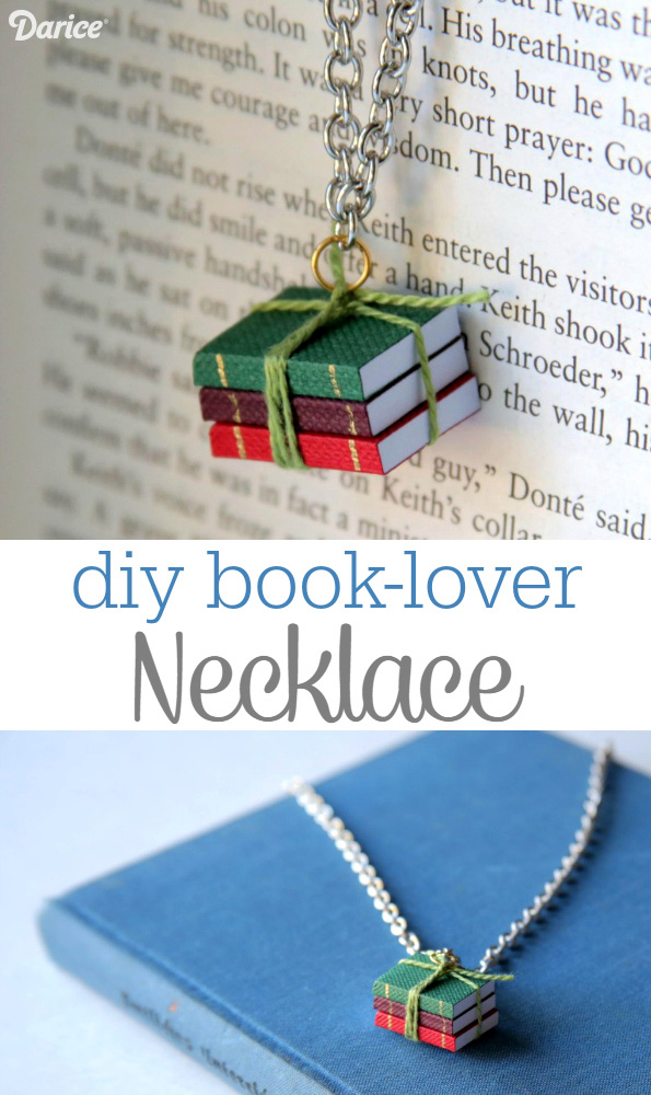 Adorable Handmade Jewelry Gift Idea - DIY Book Lover's Necklace Tutorial | Darice - The BEST Do it Yourself Gifts - Fun, Clever and Unique DIY Craft Projects and Ideas for Christmas, Birthdays, Thank You or Any Occasion #diygifts #handmadegifts #diygiftideas #giftstomake #christmasgifts #giftsforher #giftideas #birthdaygiftideas #diybirthdaygifts #handmadebirthdaygifts