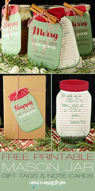 Perfect for attaching to a Christmas Holiday Gift and the Recipe in a Mason Jar for family, friends, teachers and neighbors! Free printable MASON JAR Gift Tags and Note Cards | I Should Be Mopping the Floor #christmasprintables #freechristmasprintables #christmascards #christmasgifttags #printablechristmascards #printablechristmasgifttags #christmaspapercrafts