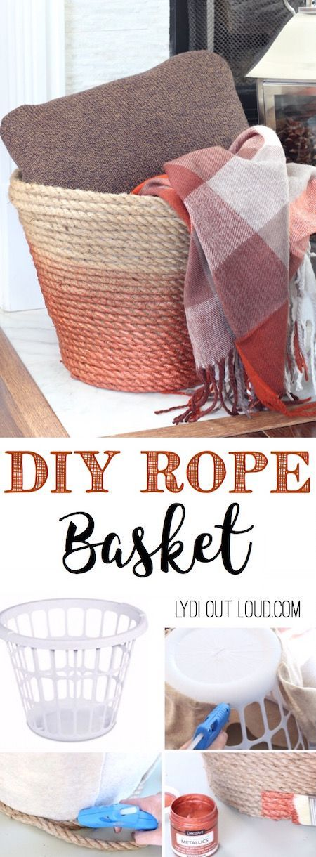 Make a beautiful DIY Metallic Ombre Basket is made out of a dollar store laundry basket! DIY Rope Basket Tutorial | Lydi Out Loud - The BEST Do it Yourself Gifts - Fun, Clever and Unique DIY Craft Projects and Ideas for Christmas, Birthdays, Thank You or Any Occasion #diygifts #handmadegifts #diygiftideas #giftstomake #christmasgifts #giftsforher #giftideas #birthdaygiftideas #diybirthdaygifts #handmadebirthdaygifts