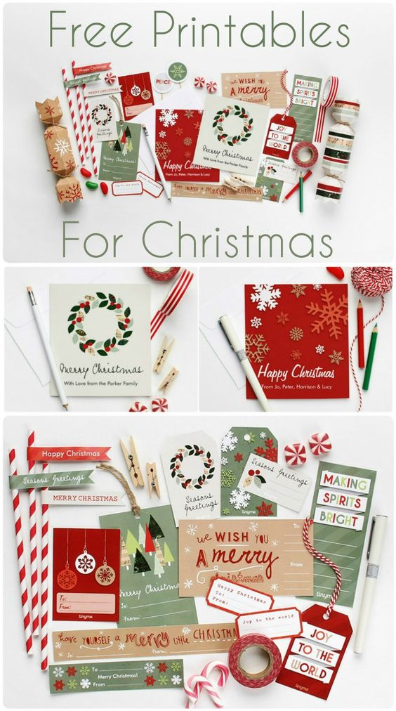 Free Christmas printables to make your own crackers, make your own gift tags, make a Christmas garland and printable dessert toppers too! | In The Playroom #christmasprintables #freechristmasprintables #christmascards #christmasgifttags #printablechristmascards #printablechristmasgifttags #christmaspapercrafts