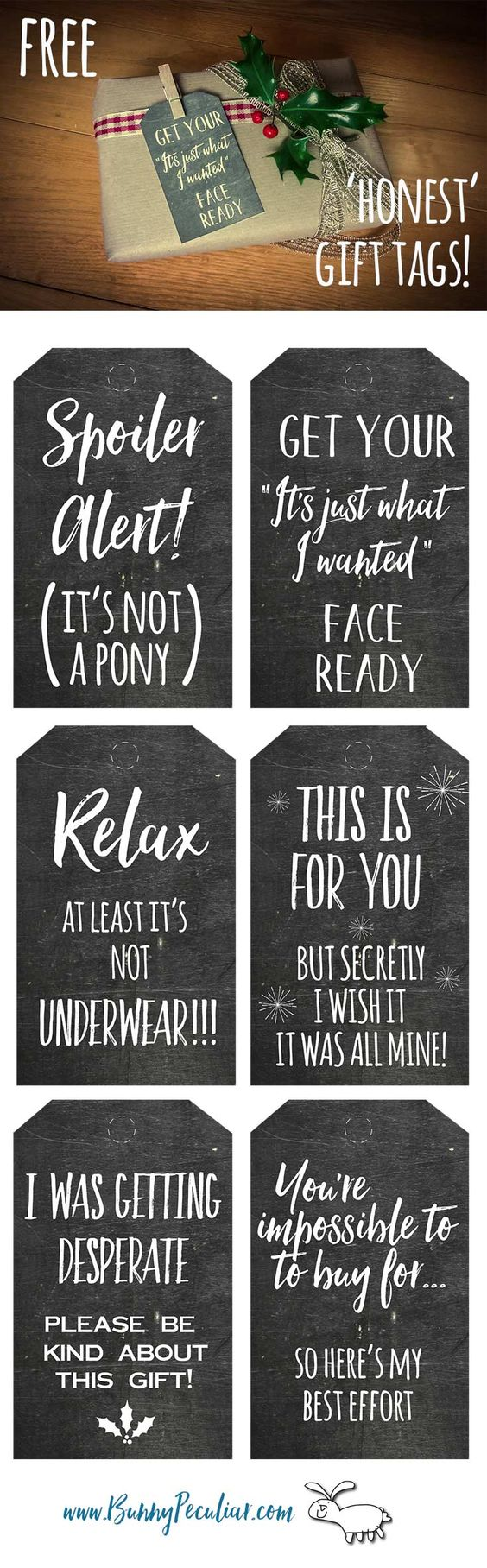 The best do it yourself gifts fun clever and unique diy craft honest and funny printable chalkboard gift tags so cute and hilarious free printables solutioingenieria Images