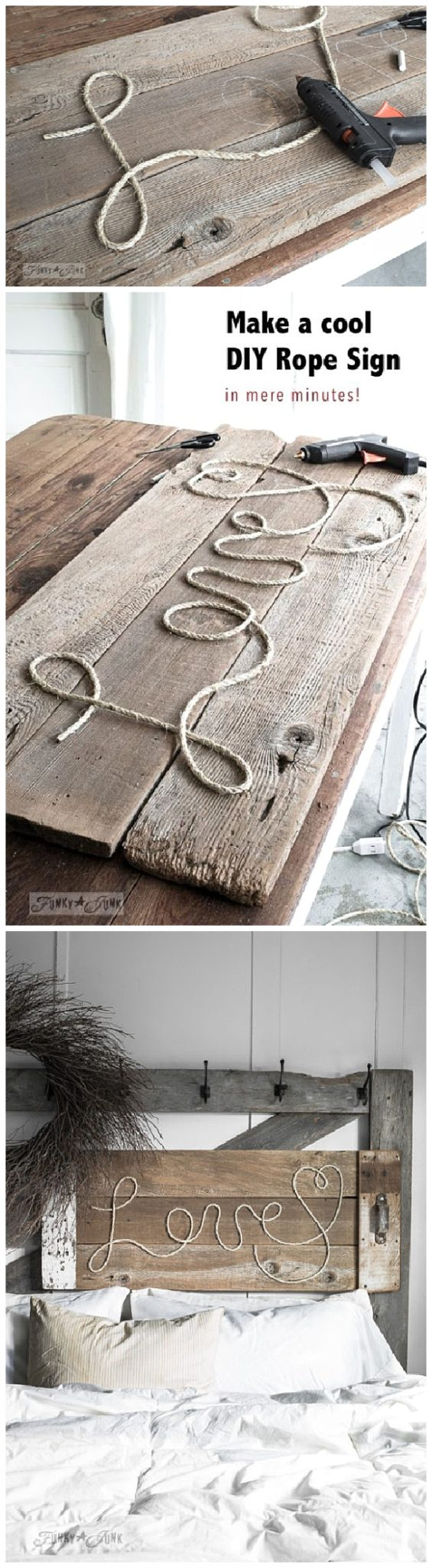 Make a cool DIY Rope Sign like this one... in minutes! So cool, cheap and fun to personalize for anyone on your gift list! DIY Rope Sign Tutorial #diygifts #handmadegifts #diygiftideas #giftstomake #christmasgifts #giftsforher #giftideas