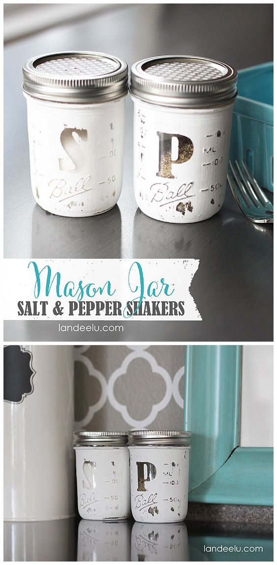 Mason Jar Salt & Pepper Shakers DIY Gift Idea Tutorial | Landeelu - The BEST Do it Yourself Gifts - Fun, Clever and Unique DIY Craft Projects and Ideas for Christmas, Birthdays, Thank You or Any Occasion