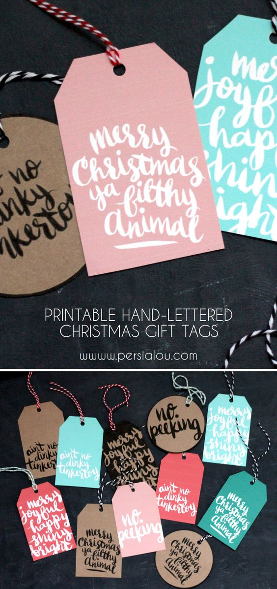 Pretty and Fun Hand Lettered FREE Printable Christmas Gift Tags | Persia Lou - The BEST Christmas and Holiday FREE Printables - Gift Tags - Gift Card Holders - Christmas Greeting Cards and more FREE Downloadable Printables for the Holiday Seasons #christmasprintables #freechristmasprintables #christmascards #christmasgifttags #printablechristmascards #printablechristmasgifttags #christmaspapercrafts