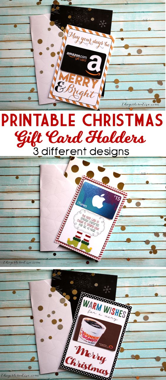 "Three ""pun""y Printable Christmas Gift Card Holders - You'll love that they fit into standard greeting cards! Grab an iTunes, Coffee Shop or Amazon Gift Card and attach - easy peasy! 