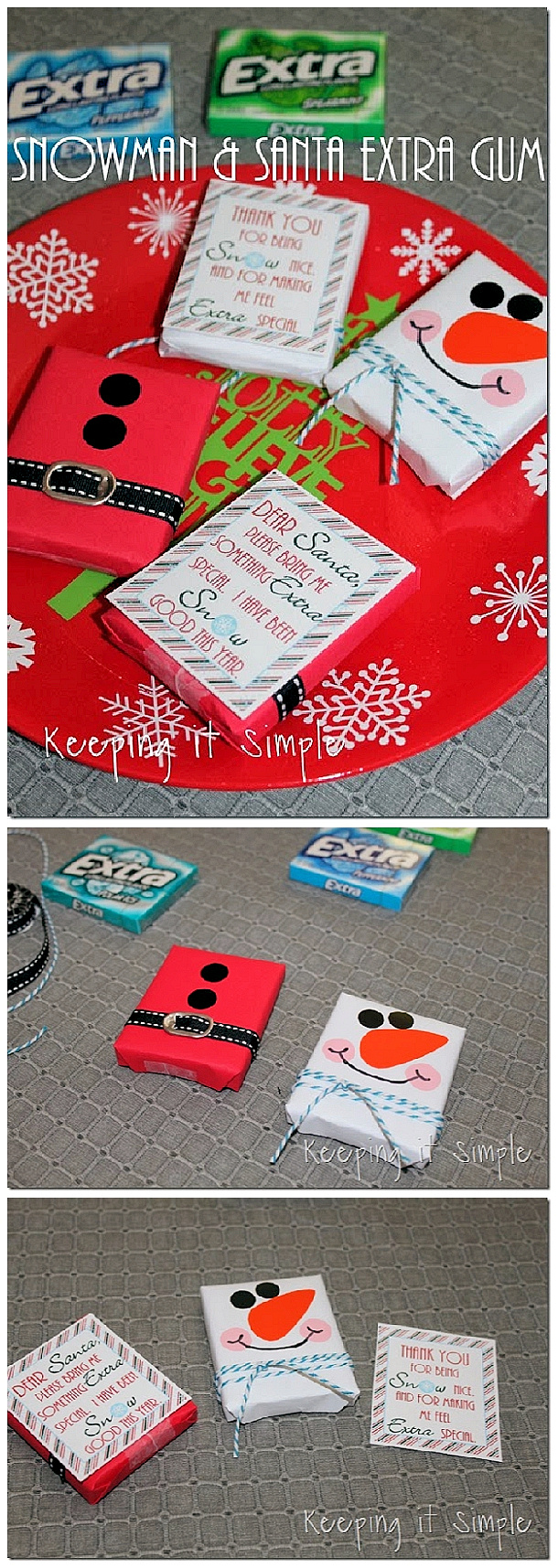 Adorable Santa and Snowman FREE Printables for Extra Gum - easy and sweet Christmas Gift Idea for Teachers, Neighbors and Friends! | Keeping it Simple Crafts #christmasprintables #freechristmasprintables #christmascards #christmasgifttags #printablechristmascards #printablechristmasgifttags #christmaspapercrafts