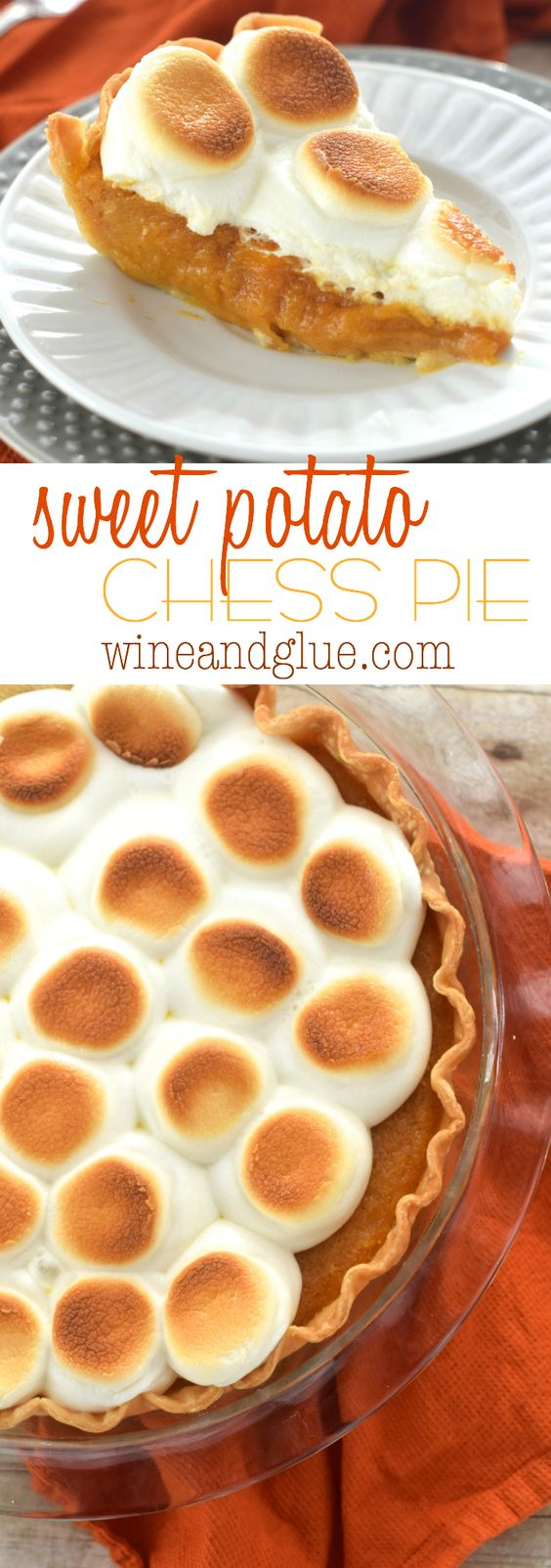 Sweet Potato Chess Pie Thanksgiving Dessert Recipe | Wine & Glue - The BEST Classic, Improved and Traditional Thanksgiving Dinner Menu Favorites Recipes - Main Dishes, Side Dishes, Appetizers, Salads, Yummy Desserts and more!