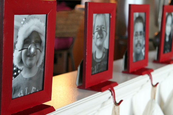 Attach Cheap Picture Frames to old cheap Stocking Holders - Tutorial via Twin Dragonfly Designs