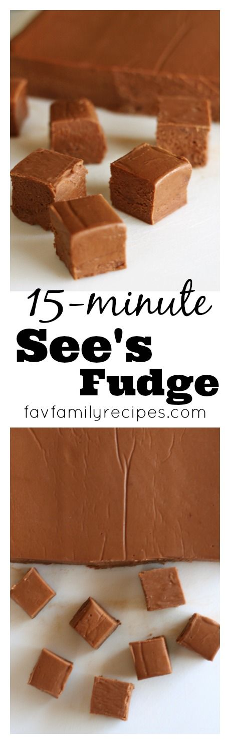 15-Minute See's Fudge Recipe via Favorite Family Recipes - From an actual worker at See's back in the day. Her go-to fudge recipe every time. Never grainy, always perfect. #chrstmascookies #christmascandy #christmastreats #holidaydesserts #holidayrecipes #christmascandies #holidaygiftplates