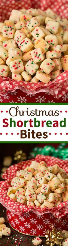 Christmas Shortbread Bites Recipe via Cooking Classy - The most pop-able fun to eat cookies out there! #chrstmascookies #christmascandy #christmastreats #holidaydesserts #holidayrecipes #christmascandies #holidaygiftplates