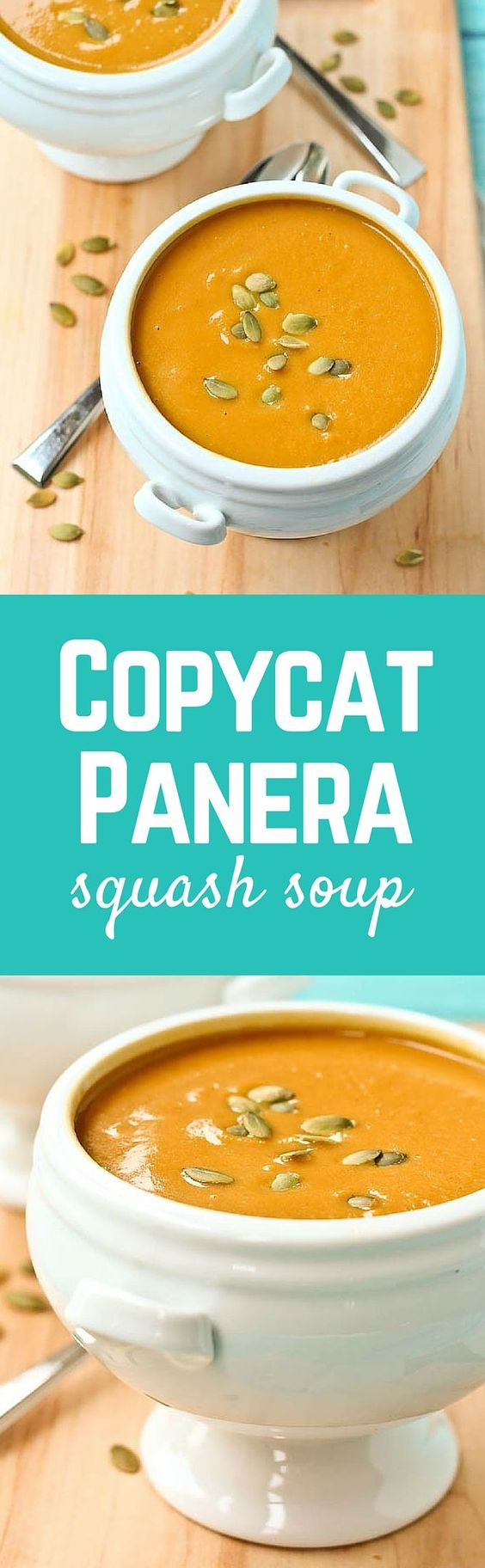 Copycat Panera Butternut Squash Soup Recipe | Rachel Cooks - The BEST Homemade Soups Recipes - Easy, Quick and Yummy Lunch and Dinner Family Favorites Meals Ideas #soup #souprecipes #homemadesoup #soups #easysouprecipes #easyrecipes #lunchrecipes #fallrecipes #winterrecipes