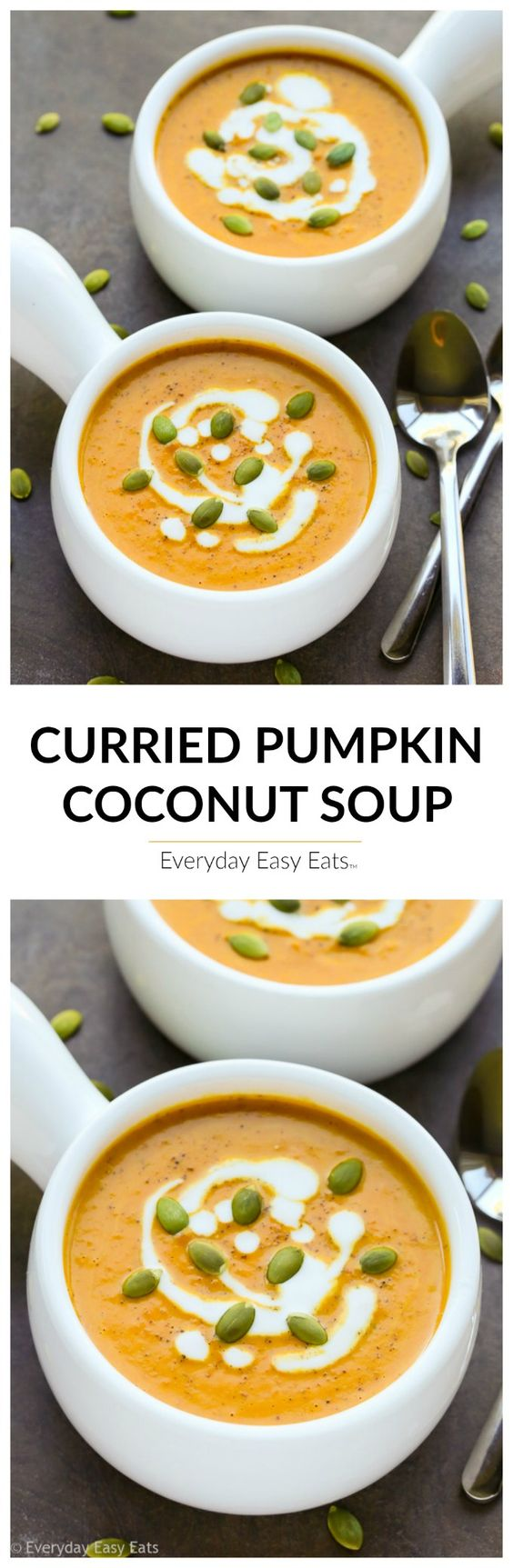 Curried Pumpkin Coconut Soup Recipe | Everyday Easy Eats - The BEST Homemade Soups Recipes - Easy, Quick and Yummy Lunch and Dinner Family Favorites Meals Ideas #soup #souprecipes #homemadesoup #soups #easysouprecipes #easyrecipes #lunchrecipes #fallrecipes #winterrecipes