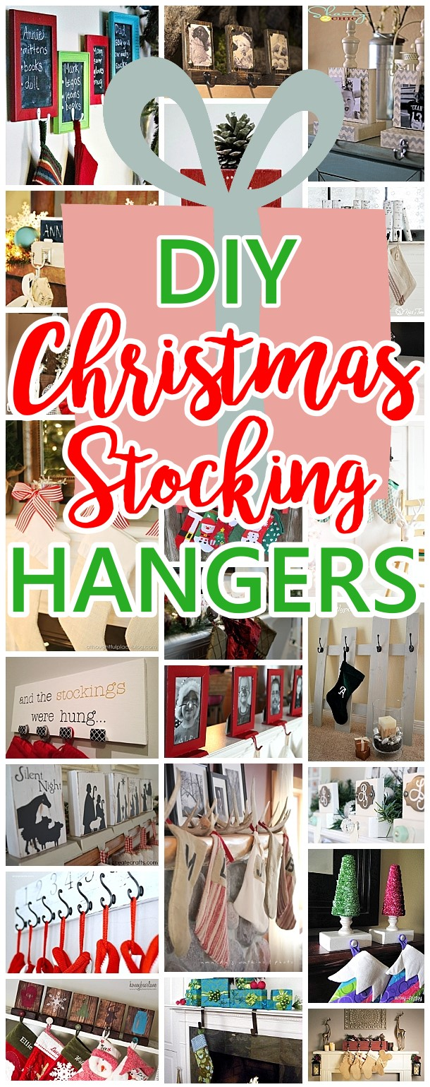 Cheap and Easy Do it Yourself Christmas Stocking Hangers and Clever Ideas, Tutorials and Ways to Display Stockings even without a mantel for the holidays! Dreaming in DIY