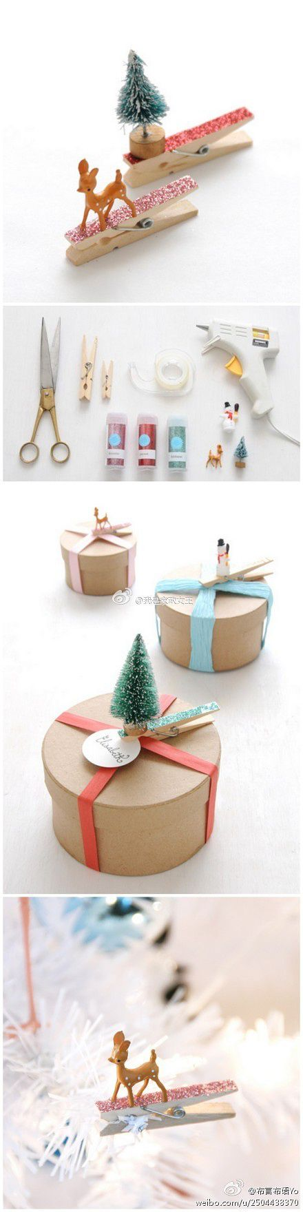 DIY Glittered Clothespin and Miniature Ornaments Gift Toppers - The BEST DIY Gift Toppers - Pretty and EASY Inexpensive Handmade Ideas for Christmas, Birthdays, Holidays and any special occasion! #diygifttoppers #DIYGiftwrapping #diygiftwrap #gifttoppers #christmasgifttoppers #diychristmasgifttoppers #birthdaygifttoppers #diychristmasbows