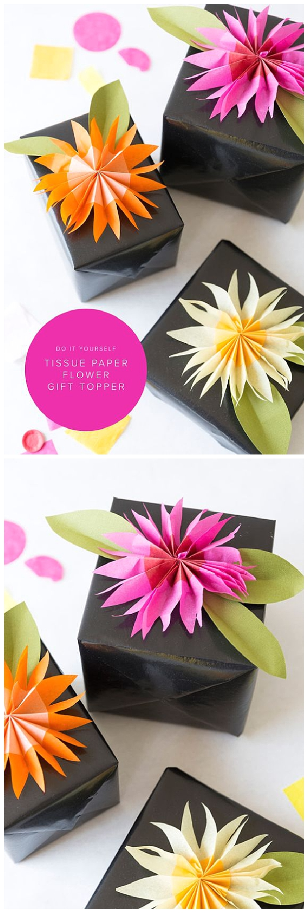 DIY paper tissue flower gift topper perfect for the holidays, birthdays or anytime! via The House That Lars Built - The BEST DIY Gift Toppers - Pretty and EASY Inexpensive Handmade Ideas for Christmas, Birthdays, Holidays and any special occasion! #diygifttoppers #DIYGiftwrapping #diygiftwrap #gifttoppers #christmasgifttoppers #diychristmasgifttoppers #birthdaygifttoppers #diychristmasbows