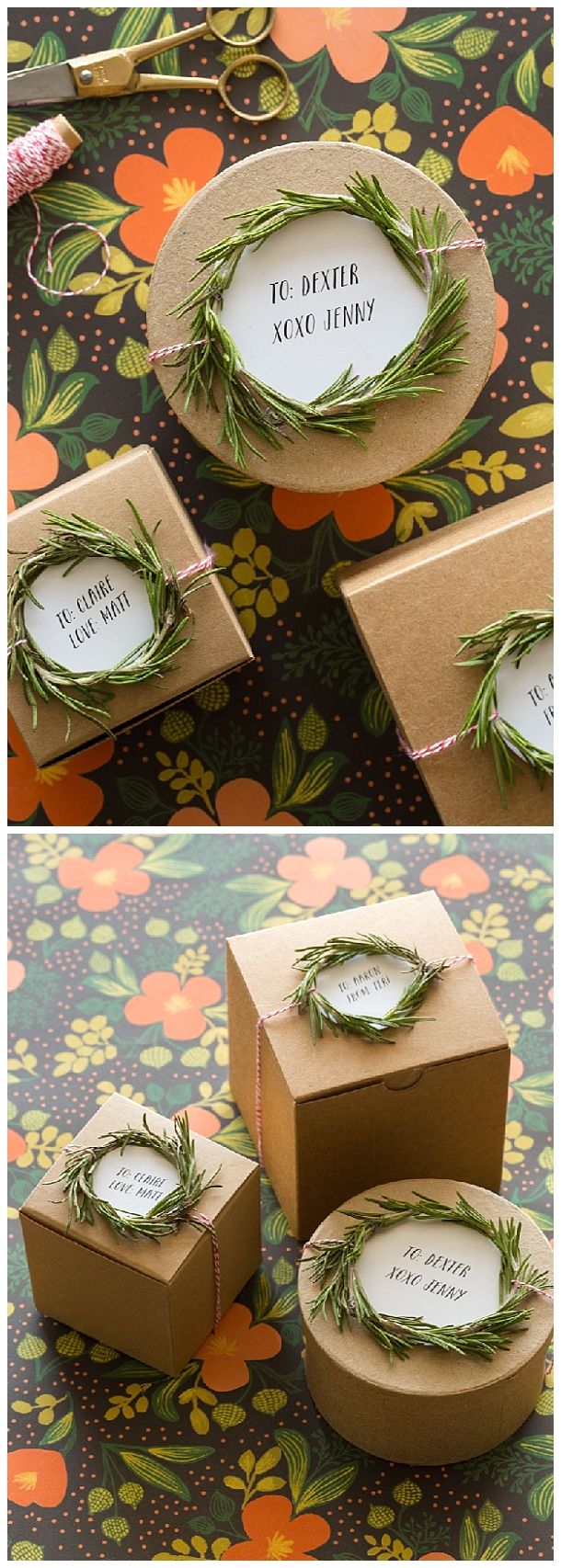 Handmade Rosemary Wreath Gift Toppers Tutorial via Spoon Fork Bacon - The BEST DIY Gift Toppers - Pretty and EASY Inexpensive Handmade Ideas for Christmas, Birthdays, Holidays and any special occasion! #diygifttoppers #DIYGiftwrapping #diygiftwrap #gifttoppers #christmasgifttoppers #diychristmasgifttoppers #birthdaygifttoppers #diychristmasbows