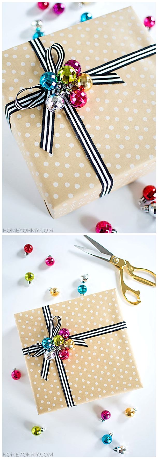 DIY Ornament Cluster Gift Toppers | Homey Oh My - The BEST DIY Gift Toppers - Pretty and EASY Inexpensive Handmade Ideas for Christmas, Birthdays, Holidays and any special occasion! #diygifttoppers #DIYGiftwrapping #diygiftwrap #gifttoppers #christmasgifttoppers #diychristmasgifttoppers #birthdaygifttoppers #diychristmasbows