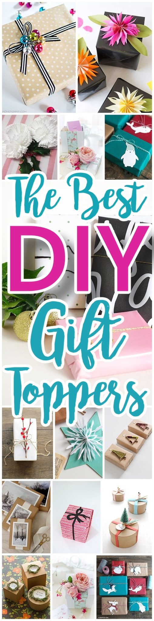 Do it Yourself Gift Toppers Tutorials - Fun, inexpensive and easy handmade ideas to wrap those gifts and give them a personal touch for Christmas Birthdays Holidays and more! #diygifttoppers #DIYGiftwrapping #diygiftwrap #gifttoppers #christmasgifttoppers #diychristmasgifttoppers #birthdaygifttoppers #diychristmasbows