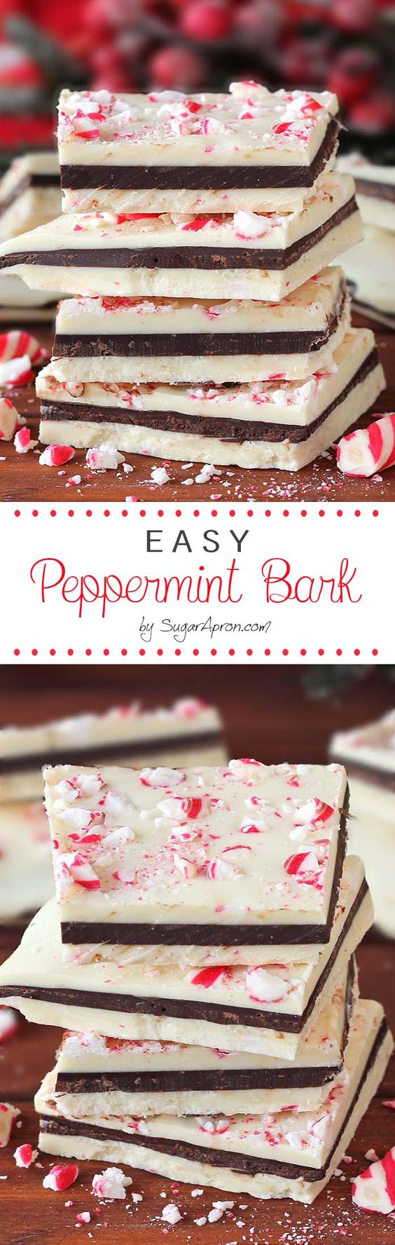 Easy Peppermint Bark Recipe via Sugar Apron - If you love that seasonal peppermint bark from the big warehouse store - you GOTTA give these a try! #chrstmascookies #christmascandy #christmastreats #holidaydesserts #holidayrecipes #christmascandies #holidaygiftplates