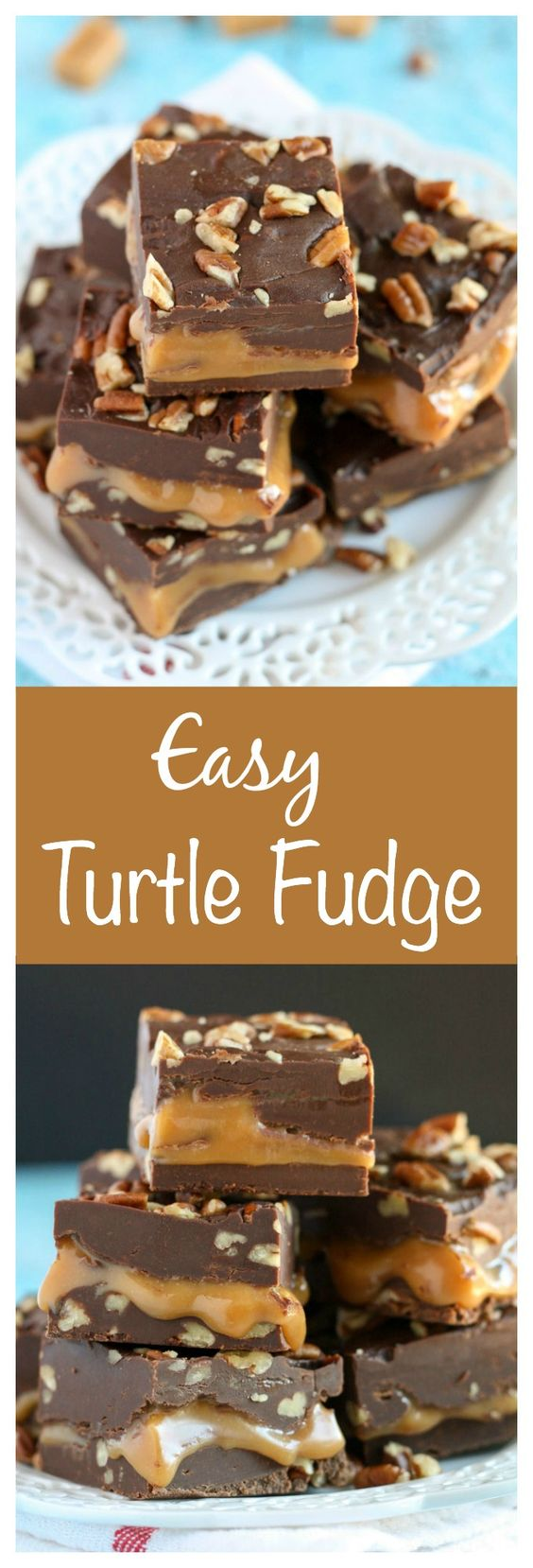 Easy Turtle Fudge Recipe via Live Well Bake Often - An easy chocolate fudge recipe with a caramel center and chopped pecans, YUM! #chrstmascookies #christmascandy #christmastreats #holidaydesserts #holidayrecipes #christmascandies #holidaygiftplates