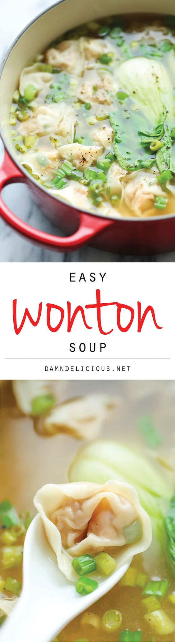 Easy Wonton Soup Recipe | Damn Delicious - The BEST Homemade Soups Recipes - Easy, Quick and Yummy Lunch and Dinner Family Favorites Meals Ideas