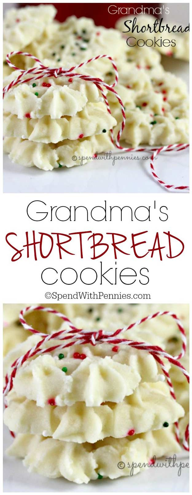 Grandma's Shortbread Cookies Recipe via Spend With Pennies - The BEST Christmas Cookies, Fudge, Candy, Barks and Brittles Recipes - Favorites for Holiday Treats Gift Plates and Goodies Bags! #chrstmascookies #christmascandy #christmastreats #holidaydesserts #holidayrecipes #christmascandies #holidaygiftplates