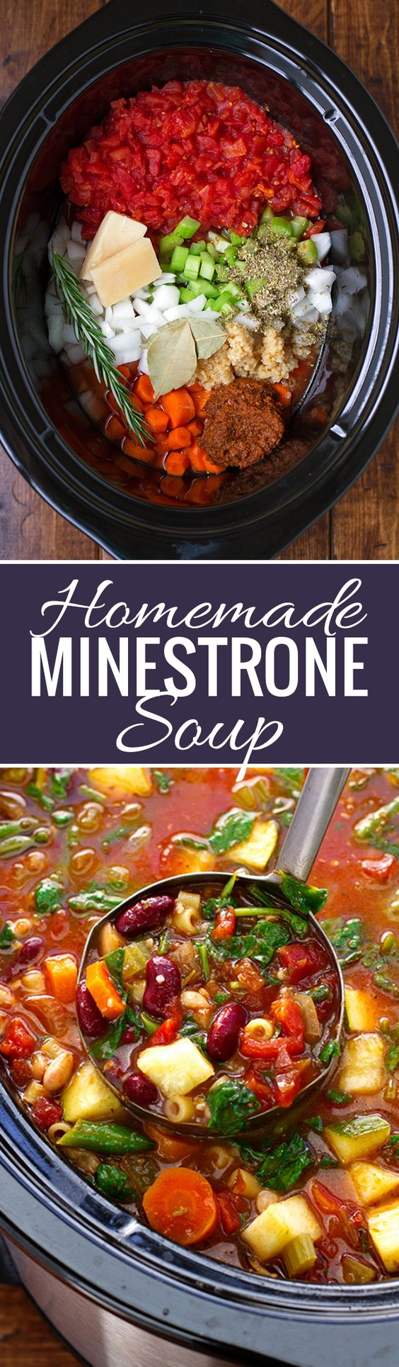 Homemade Crock Pot Minestrone Soup Recipe | Little Spice Jar - The BEST Homemade Soups Recipes - Easy, Quick and Yummy Lunch and Dinner Family Favorites Meals Ideas #soup #souprecipes #homemadesoup #soups #easysouprecipes #easyrecipes #lunchrecipes #fallrecipes #winterrecipes