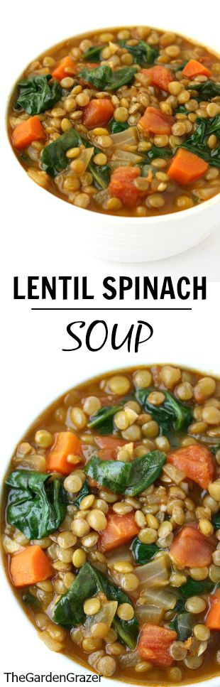 Lentil Spinach Soup Recipe | The Garden Grazer - The BEST Homemade Soups Recipes - Easy, Quick and Yummy Lunch and Dinner Family Favorites Meals Ideas #soup #souprecipes #homemadesoup #soups #easysouprecipes #easyrecipes #lunchrecipes #fallrecipes #winterrecipes