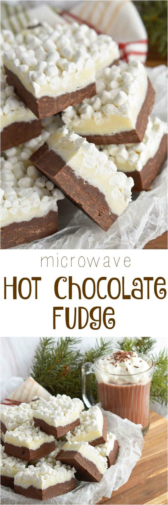 Microwave Hot Chocolate Fudge Recipe via Wonky Wonderful - The BEST Christmas Cookies, Fudge, Candy, Barks and Brittles Recipes - Favorites for Holiday Treats Gift Plates and Goodies Bags! #chrstmascookies #christmascandy #christmastreats #holidaydesserts #holidayrecipes #christmascandies #holidaygiftplates