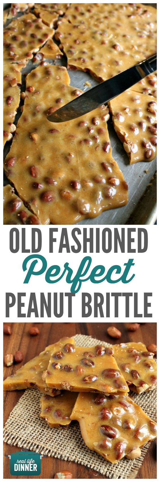 Mom's Best Peanut Brittle Recipe via Real Life Dinner - Old Fashioned PERFECT Peanut Brittle has to be included in your Christmas Gift Plates and Goodies Bags! #chrstmascookies #christmascandy #christmastreats #holidaydesserts #holidayrecipes #christmascandies #holidaygiftplates