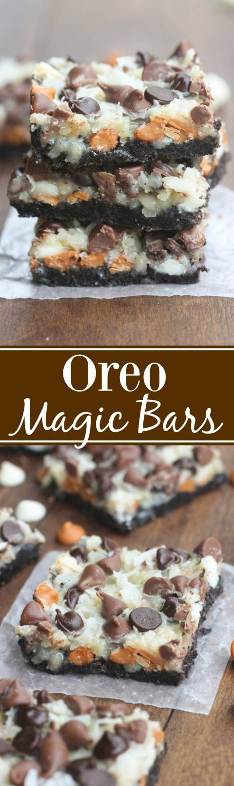 Oreo Magic Cookie Bars Recipe via Tastes Better From Scratch - The BEST Christmas Cookies, Fudge, Candy, Barks and Brittles Recipes - Favorites for Holiday Treats Gift Plates and Goodies Bags! #chrstmascookies #christmascandy #christmastreats #holidaydesserts #holidayrecipes #christmascandies #holidaygiftplates