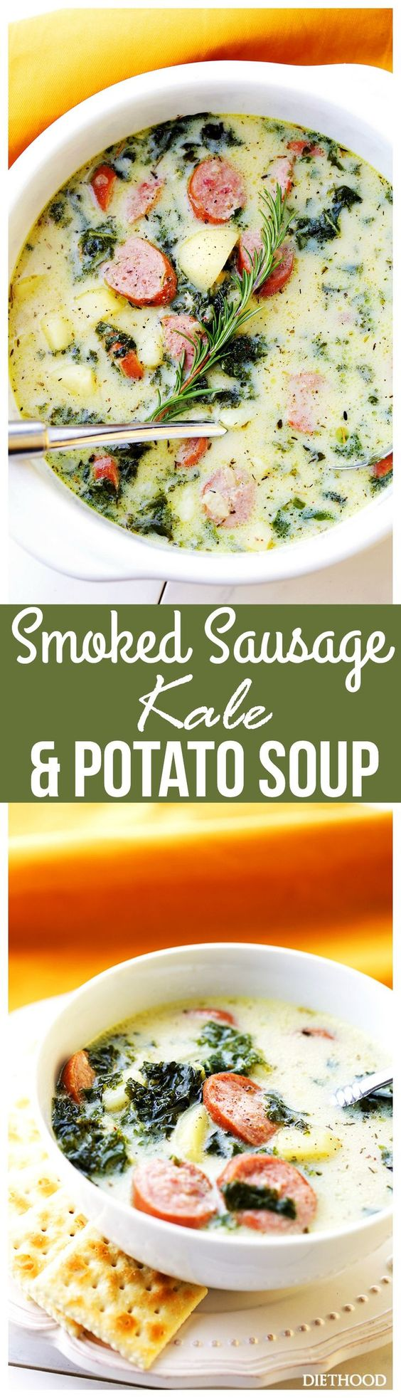 Smoked Sausage, Kale and Potato Soup Recipe | Diethood - The BEST Homemade Soups Recipes - Easy, Quick and Yummy Lunch and Dinner Family Favorites Meals Ideas #soup #souprecipes #homemadesoup #soups #easysouprecipes #easyrecipes #lunchrecipes #fallrecipes #winterrecipes