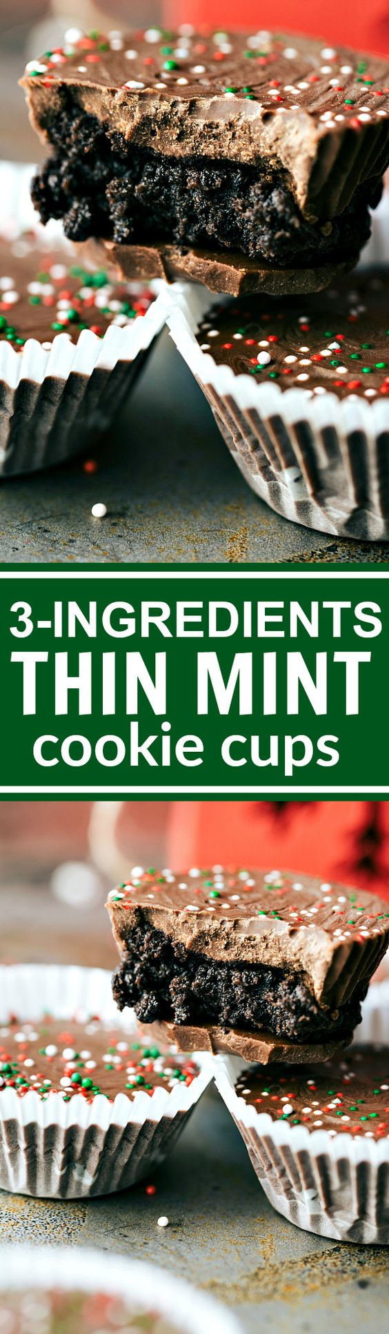 THREE INGREDIENT easy, no-bake Chocolate THIN MINT cups Recipe via Chelsea's Messy Apron - The BEST Christmas Cookies, Fudge, Candy, Barks and Brittles Recipes - Favorites for Holiday Treats Gift Plates and Goodies Bags! #chrstmascookies #christmascandy #christmastreats #holidaydesserts #holidayrecipes #christmascandies #holidaygiftplates