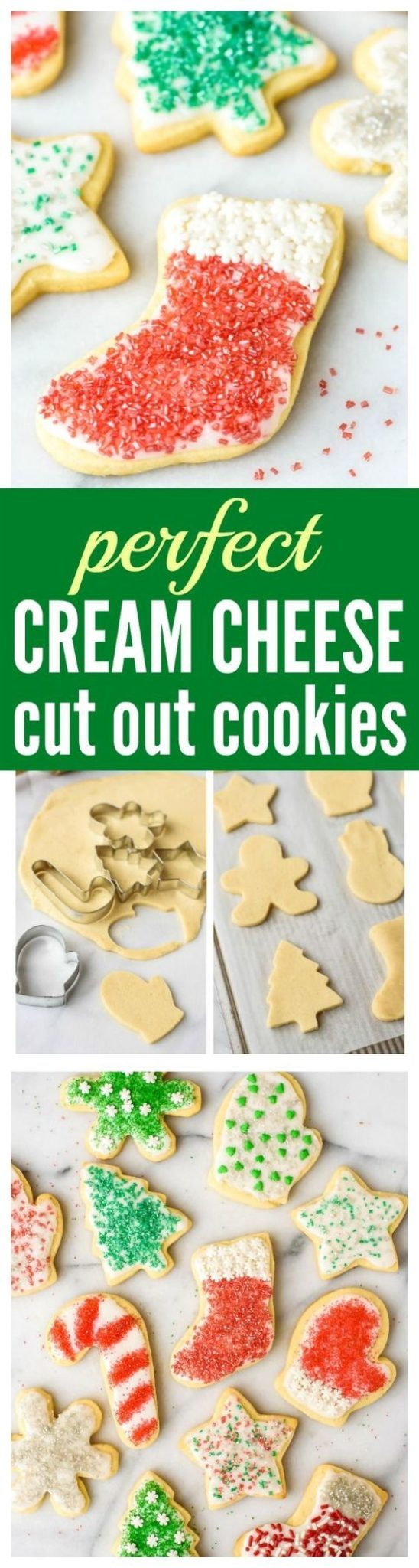 Perfect Cream Cheese Sugar Cookies RECIPE via Well Plated - The BEST Cut Out Sugar Cookies from scratch, with step-by-step photos. Cream cheese is the secret ingredient that makes the sugar cookies super soft, even days after they are baked. This is the only cut out Christmas cookie recipe you will ever need! #chrstmascookies #christmascandy #christmastreats #holidaydesserts #holidayrecipes #christmascandies #holidaygiftplates