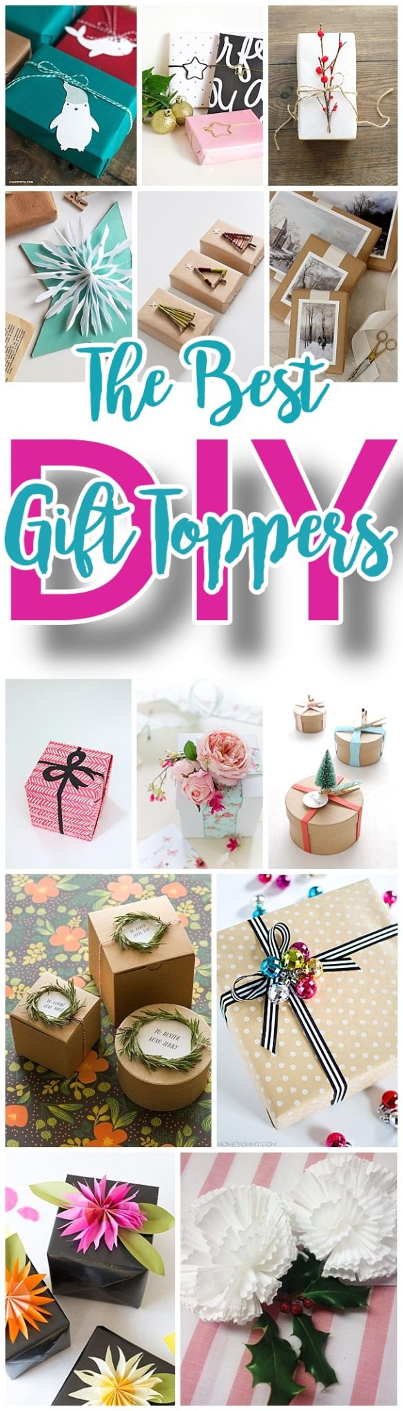 The BEST DIY Gift Toppers - pretty handmade EASY, CHEAP and fun gift wrapping ideas for Christmas Birthdays Holidays and any time you want someone to feel extra special! #diygifttoppers #DIYGiftwrapping #diygiftwrap #gifttoppers #christmasgifttoppers #diychristmasgifttoppers #birthdaygifttoppers #diychristmasbows