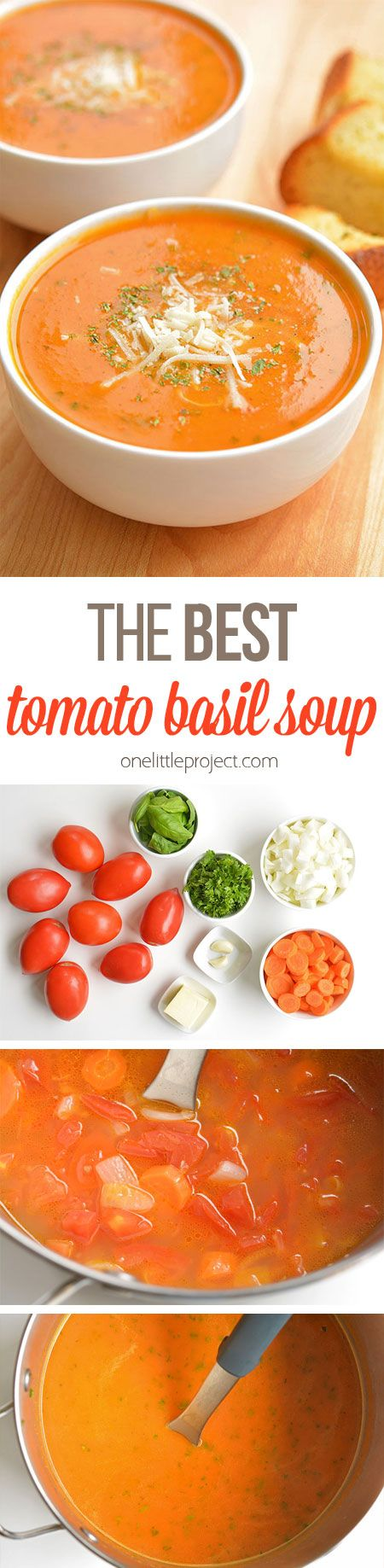 The BEST Tomato Basil Soup Recipe | One Little Project - The BEST Homemade Soups Recipes - Easy, Quick and Yummy Lunch and Dinner Family Favorites Meals Ideas #soup #souprecipes #homemadesoup #soups #easysouprecipes #easyrecipes #lunchrecipes #fallrecipes #winterrecipes