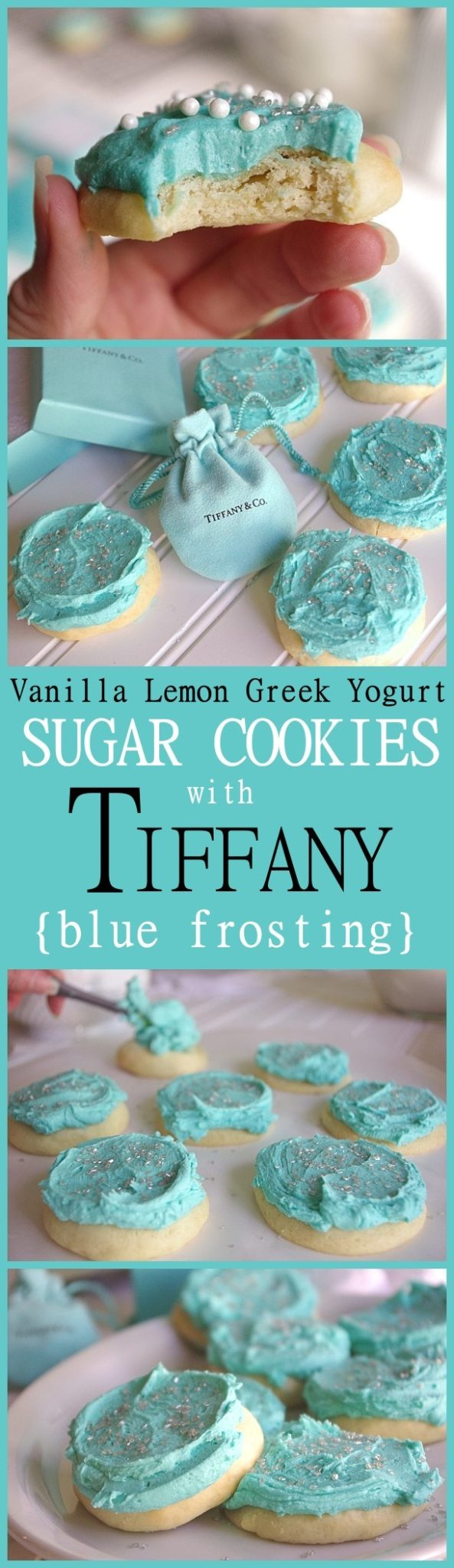 Lightly Lemon Greek Yogurt Frosted Sugar Cookies Recipe {and how to get perfectly Tiffany Blue colored FROSTING!} Fun Christmas Cookies for gift plates this holiday season! via Dreaming in DIY #chrstmascookies #christmascandy #christmastreats #holidaydesserts #holidayrecipes #christmascandies #holidaygiftplates